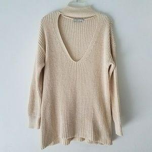 Zara knit choker cut out v neck oversize sweater